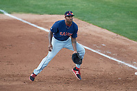 Salem Red Sox first baseman Josh Ockimey (30) during the first game of a doubleheader against the Potomac Nationals on May 13, 2017 at G. Richard Pfitzner Stadium in Woodbridge, Virginia.  Potomac defeated Salem 6-0.  (Mike Janes/Four Seam Images)