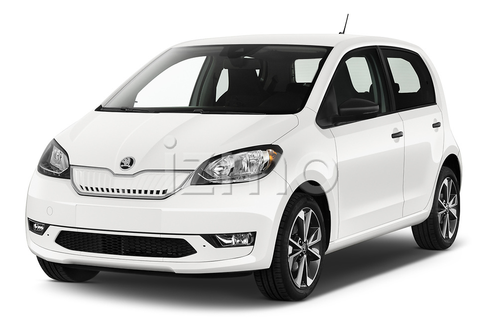 2020 Skoda Citigo e iV Ambition 5 Door Hatchback angular front stock photos of front three quarter view