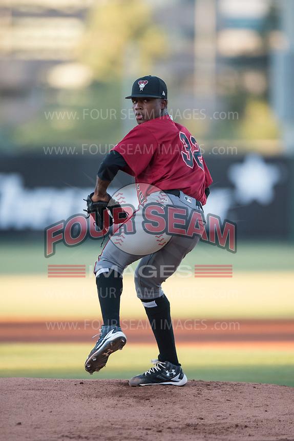 AZL Diamondbacks starting pitcher Alex Valdez (32) delivers a pitch during an Arizona League game against the AZL Angels at Tempe Diablo Stadium on June 27, 2018 in Tempe, Arizona. The AZL Angels defeated the AZL Diamondbacks 5-3. (Zachary Lucy/Four Seam Images)