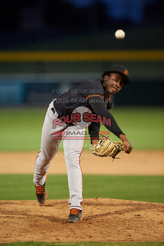 AZL Giants Black relief pitcher Freddery Paulino (84) during an Arizona League game against the AZL Athletics Gold on July 12, 2019 at Hohokam Stadium in Mesa, Arizona. The AZL Giants Black defeated the AZL Athletics Gold 9-7. (Zachary Lucy/Four Seam Images)
