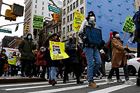 NEW YORK, NEW YORK - MARCH 06: People take part of a demonstration in support of woman workers on March 06, 2021 in New York. (Photo by John Smith/VIEWpress)