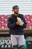 Clinton LumberKings catcher Arturo Nieto (23) warms up prior to a Midwest League game against the Wisconsin Timber Rattlers on May 9th, 2016 at Fox Cities Stadium in Appleton, Wisconsin.  Clinton defeated Wisconsin 6-3. (Brad Krause/Four Seam Images)