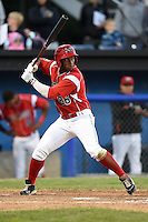 Batavia Muckdogs outfielder Miles Williams (26) at bat during a game against the Auburn Doubledays on June 14, 2014 at Dwyer Stadium in Batavia, New York.  Batavia defeated Auburn 7-2.  (Mike Janes/Four Seam Images)