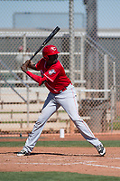 Cincinnati Reds center fielder Gabby Guerrero (27) during a Minor League Spring Training game against the Chicago White Sox at the Cincinnati Reds Training Complex on March 28, 2018 in Goodyear, Arizona. (Zachary Lucy/Four Seam Images)