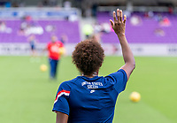 ORLANDO, FL - FEBRUARY 21: Crystal Dunn #19 of the USWNT warms up before a game between Brazil and USWNT at Exploria Stadium on February 21, 2021 in Orlando, Florida.