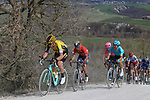The peloton including Wout Van Aert (BEL) Team Jumbo-Visma give chase on sector 8 Monte Santa Maria during Strade Bianche 2019 running 184km from Siena to Siena, held over the white gravel roads of Tuscany, Italy. 9th March 2019.<br /> Picture: Seamus Yore   Cyclefile<br /> <br /> <br /> All photos usage must carry mandatory copyright credit (© Cyclefile   Seamus Yore)