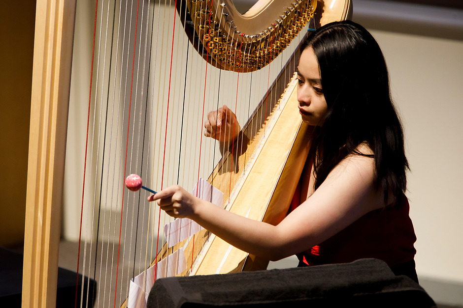 Harpist Thea Kammerling performs during the Composition Forum at the 11th USA International Harp Competition at Indiana University in Bloomington, Indiana on Monday, July 8, 2019. (Photo by James Brosher)