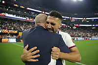 LAS VEGAS, NV - AUGUST 1: Sebastian Lletget #17 of the United States celebrates after a game between Mexico and USMNT at Allegiant Stadium on August 1, 2021 in Las Vegas, Nevada.