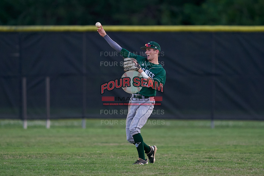 Venice Indians outfielder Michael Robertson (12) throws the ball in during a game against the Braden River Pirates on February 25, 2021 at Braden River High School in Bradenton, Florida.  (Mike Janes/Four Seam Images)