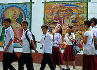 School Children in Manila, view from the car window Manila, Philippines