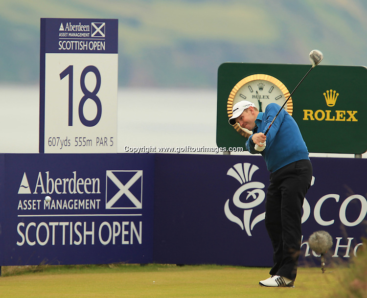 Stephen Gallacher (SCO) during the third round of the 2012 Aberdeen Asset Management Scottish Open being played over the links at Castle Stuart, Inverness, Scotland from 12th to 15th July 2012:  Stuart Adams www.golftourimages.com:14th July 2012