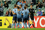 Sydney players celebrate a goal during the AFC Champions League Round of 16 betweenSYDNEY FC (AUS) and SHANDONG LUNENG FC (CHN) on 25 May 2016 held at Sydney Football Stadium in Sydney, Australia. Photo by Mark Metcalfe / Power Sport Images