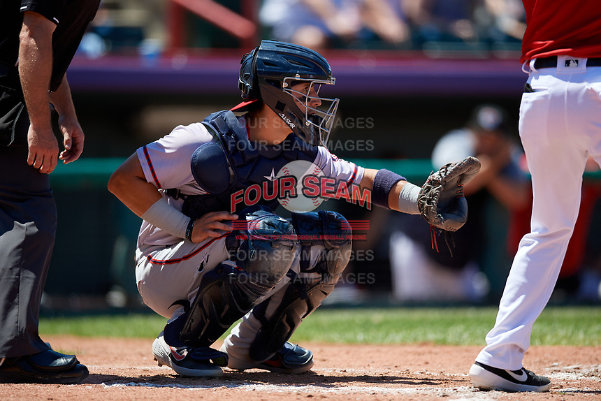 Harrisburg Senators catcher Tres Barrera (13) during an Eastern League game against the Erie SeaWolves on June 30, 2019 at UPMC Park in Erie, Pennsylvania.  Erie defeated Harrisburg 4-2.  (Mike Janes/Four Seam Images)