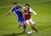 Alex MacDonald of Gillingham gets ready to tackle Arsenal's Joel Lopez during Gillingham vs Arsenal Under-21, Papa John's Trophy Football at the MEMS Priestfield Stadium on 10th November 2020