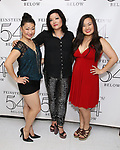 Katie Boren, Erin Quill and Grace Choi backstage at the 'Avenue Q' 15th Anniversary Reunion Concert at Feinstein's/54 Below on July 30, 2018 in New York City.