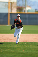 Joseph Freitas (5) of Mariposa County High School in La Grange, California during the Baseball Factory All-America Pre-Season Tournament, powered by Under Armour, on January 14, 2018 at Sloan Park Complex in Mesa, Arizona.  (Zachary Lucy/Four Seam Images)