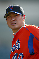 Jae Weong Seo of the New York Mets during a 2003 season MLB game at Dodger Stadium in Los Angeles, California. (Larry Goren/Four Seam Images)