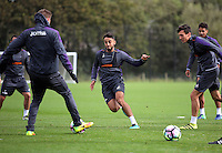 Pictured: Neil Taylor chases the ball Thursday 29 September 2016<br /> Re: Swansea City FC training at Fairwood, Wales, UK