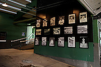 Photos line the wall at Rickwood Field, the oldest surviving professional baseball park in the United States, first opening on August 18, 1910, as home for the Birmingham Barons.  Image taken on April 16, 2013 in Birmingham, Alabama.  (Mike Janes/Four Seam Images)