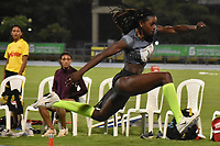 BARRANQUILLA-COLOMBIA, 18-05-2018: En el Grand Prix de Barranquilla, Caterine Ibargüen logró un cupo a Tokio 2020. Con un salto de 14'38'' la campeona mundial y medallista olímpica, Caterin Ibargüen, logró un cupo a Tokio 2020 y al mundial de atletismo que se realizará en  Doha (Catar) del 28 de septiembre al 6 de octubre de este año, durante el Grand Prix en el estadio Rafael Cotes de Barranquilla. /  At the Barranquilla Grand Prix, Caterpillar Ibargüen for a Tokyo 2020. With a jump of 14'38 '' the world champion and Olympic medalist, Caterin Ibargüen, a quota of Tokyo 2020 and the world athletics that is expected in Doha (Qatar ) from September 28 to October 6 of this year, during the Grand Prize at the Rafael Cotes Stadium in Barranquilla. Photo: VizzorImage / Alfonso Cervantes / STR