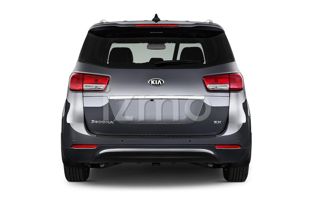 Straight rear view of 2015 KIA Sedona EX 5 Door Minivan Rear View  stock images