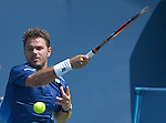 Stanislas Wawrinka (SUI) loses to Novak Djokovic (SRB) 6-4, 6-1at the Western and Southern Open in Mason, OH on August 21, 2015.