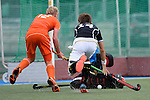 GER - Mannheim, Germany, May 25: During the U16 Boys match between The Netherlands (orange) and Germany (black) during the international witsun tournament on May 25, 2015 at Mannheimer HC in Mannheim, Germany. Final score 3-4 (1-2). (Photo by Dirk Markgraf / www.265-images.com) *** Local caption *** Tjep Hoedemakers #12 of The Netherlands, Benjamin Benzinger #14 of Germany
