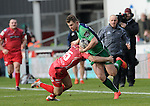 Connacht's Matt Healy is tackled by Scarlets' Jordan Williams<br /> <br /> Rugby - Scarlets V Connacht - Guinness Pro12 - Sunday 15th Febuary 2015 - Parc-y-Scarlets - Llanelli<br /> <br /> © www.sportingwales.com- PLEASE CREDIT IAN COOK