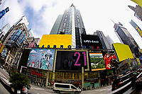 NEW YORK - NEW YORK - MARCH 25: Cars drive at Broadway ST in Times Square on March 25, 2021 in New York. New York's Mayor Bill de Blasio says that the city plans to create a Coronavirus vaccination site on Broadway  reserved for theater  workers in a reopening effort. (Photo by Emaz/VIEWpress)