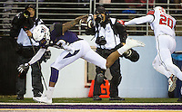 Joshua Perkins tumbles out of bounds in the end zone.  The referees ruled he had stepped out prior to crossing the goal line.