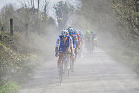 Matteo Trentin (ITA/QuickStep Floors) racing over the 'Plugstreets' gravel roads<br /> <br /> 79th Gent-Wevelgem 2017 (1.UWT)<br /> 1day race: Deinze › Wevelgem - BEL (249km)