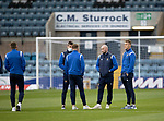 Dundee v St Johnstone…22.09.21  Dens Park.    Premier Sports Cup<br />Callum Booth, Liam Craig, Chris Kane and Eetu Vertainen pictured on the pitch shortly after arriving<br />Picture by Graeme Hart.<br />Copyright Perthshire Picture Agency<br />Tel: 01738 623350  Mobile: 07990 594431