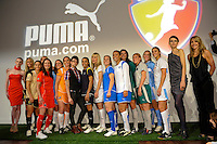 WPS players pose for photographers with fashion designer Christian Siriano and Summer Sanders during the unveiling of the Women's Professional Soccer uniforms at the Event Place in Manhattan, NY, on February 24, 2009. Photo by Howard C. Smith/isiphotos.com