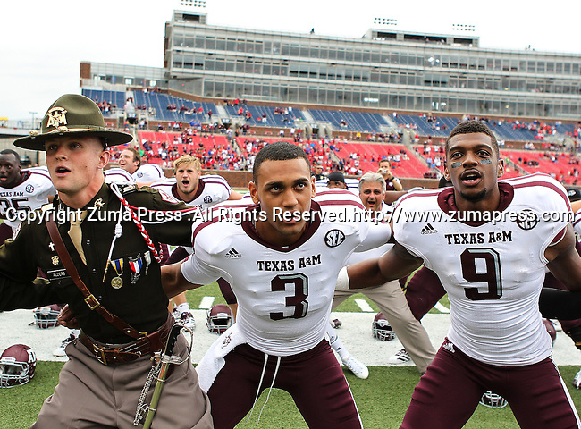 Texas A&M Aggies quarterback Jameill Showers (3) and Texas A&M Aggies wide receiver Nate Askew (9) in action during the game between the Southern Methodist Mustangs and the Texas A&M Aggies at the Gerald J. Ford Stadium in Dallas, Texas. Texas A & M defeats SMU 48 to 3.