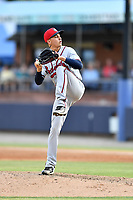 Rome Braves starting pitcher Alan Rangel (55) delivers a pitch during a game against the Asheville Tourists at McCormick Field on June 7, 2018 in Asheville, North Carolina. The Braves defeated the Tourists 8-6. (Tony Farlow/Four Seam Images)