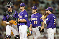 LSU Tigers (L to R) catcher Ty Ross, pitcher Nick Goody #41, shortstop Austin Nola #36, and first baseman Mason Katz #8 meet on the mound in the ninth inning during the NCAA baseball game against the Mississippi State Bulldogs  on March 17, 2012 at Alex Box Stadium in Baton Rouge, Louisiana. The 10th-ranked LSU Tigers beat #21 Mississippi State, 4-3. (Andrew Woolley / Four Seam Images)