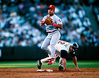 Luis Alicia of the Texas Rangers plays in a baseball game at Edison International Field during the 1998 season in Anaheim, California. (Larry Goren/Four Seam Images)