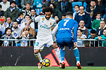 Marcelo Vieira Da Silva of Real Madrid battles for the ball with Lucas Perez Martinez of RC Deportivo La Coruna during the La Liga 2017-18 match between Real Madrid and RC Deportivo La Coruna at Santiago Bernabeu Stadium on January 21 2018 in Madrid, Spain. Photo by Diego Gonzalez / Power Sport Images