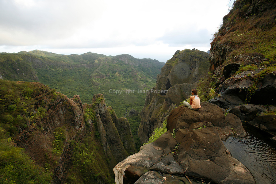 View of the south of Nuku Hiva from Vaipo waterfall  falling over 350 m in the valley of Hakaui island of Nuku Hiva Vue sur le sud de de Nuku Hiva depuis la cascade de Vaipo qui tombe de plus de 350 m dans la vallee de Hakaui Ile de Nuku Hiva