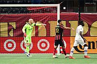 ATLANTA, GA - AUGUST 29: Brad Guzan #1 of Atlanta United directs the defense during a game between Orlando City SC and Atlanta United FC at Marecedes-Benz Stadium on August 29, 2020 in Atlanta, Georgia.