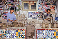 Ceramics, Nabeul, Tunisia.  Two Potters at Work.