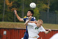 Old Tappan Golden Knights vs Pascack Valley Indians boys soccer at Pascack Valley HS, Thursday, September 10, 2015.  Pascack Valley defeated Old Tappan in double OT by the score of 2 - 1.