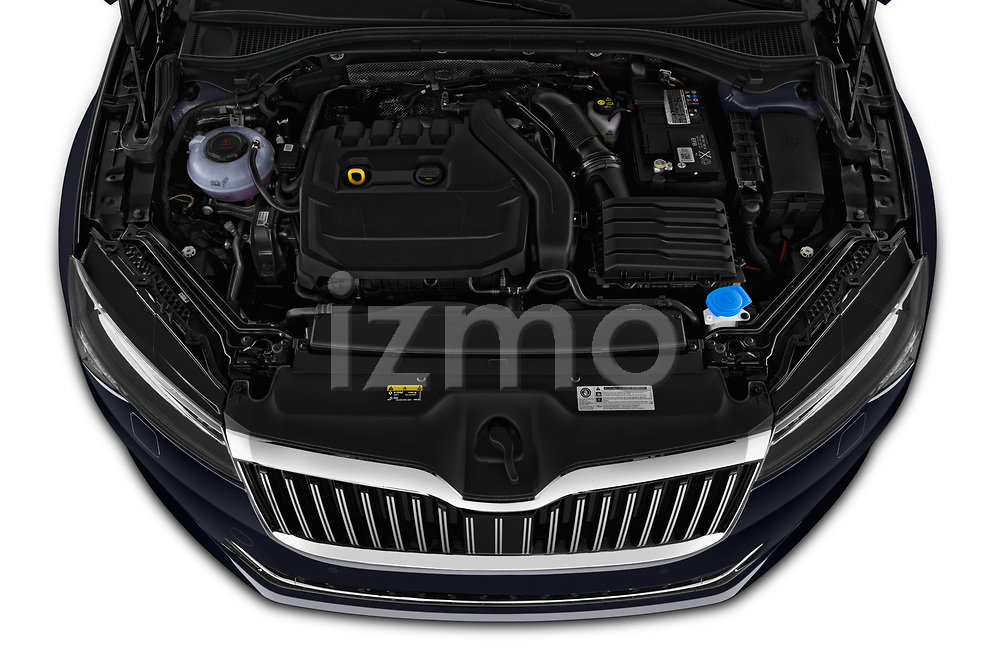 Car Stock 2020 Skoda Superb 5 Door Wagon Engine  high angle detail view