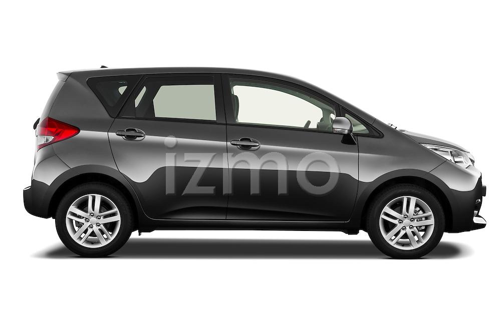 Passenger side profile view of a 2011 Subaru Trezia Comfort 5 Door Hatchback.
