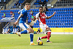 St Johnstone v Fleetwood Town…24.07.21  McDiarmid Park<br />Callum Hendry is tackled by James Hill<br />Picture by Graeme Hart.<br />Copyright Perthshire Picture Agency<br />Tel: 01738 623350  Mobile: 07990 594431