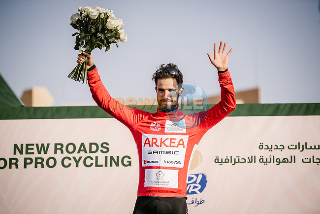 Nacer Bouhanni (FRA) Team Arkea Samsic takes over the points Red Jersey at the end of Stage 2 of the Saudi Tour 2020 running 187km from Sadus Castle to Al Bujairi, Saudi Arabia. 5th February 2020. <br /> Picture: ASO/Pauline Ballet | Cyclefile<br /> All photos usage must carry mandatory copyright credit (© Cyclefile | ASO/Pauline Ballet)