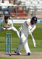 27th May 2021; Emirates Old Trafford, Manchester, Lancashire, England; County Championship Cricket, Lancashire versus Yorkshire, Day 1;  Adam Lyth of Yorkshire hits a shot to the on side