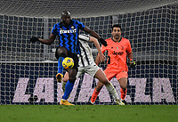 Football Soccer: Tim Cup Semi Finals second leg Juventus vs InternazionaleMilan, Allianz Staium Stadium in Turin, on February 9, 2021.<br /> Inter's Romelu Lukaku (in front of) Juventu's goalkeeper and captain Gianluigi Buffon (behind) in action with (r) during the Italian Tim Cup Semi Final match between Juventus vs InterMilan at Allianz Stadium in Turin, on February 9, 2021.<br /> UPDATE IMAGES PRESS/Isabella Bonotto