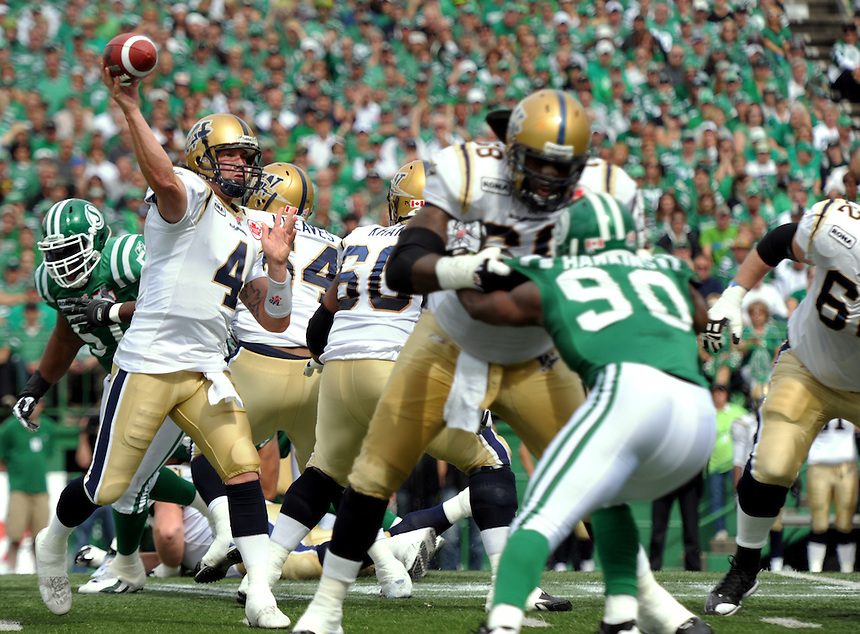 Winnipeg Blue Bombers quarterback Buck Pierce attempts a pass during the Labour Day Classic in Regina Sunday, September 5, 2010. THE CANADIAN PRESS/Mark Taylor.