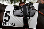 August 15, 2021, Deauville (France) - Saddle cloth for #5 and saddle of Jockey Cristian Demuro for races in Deauville at the Deauville Racecourse. [Copyright (c) Sandra Scherning/Eclipse Sportswire)]